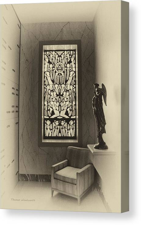 Glass Art Canvas Print featuring the photograph Mausoleum Stained Glass 02 by Thomas Woolworth