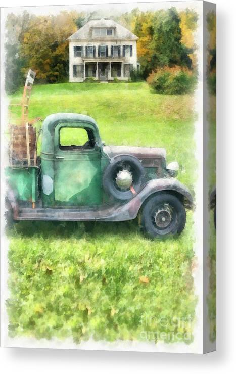 House Canvas Print featuring the photograph Old Green Pickup Truck by Edward Fielding