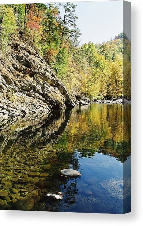 Reflections At The Wye Canvas Print featuring the photograph Reflections Of The by John Saunders