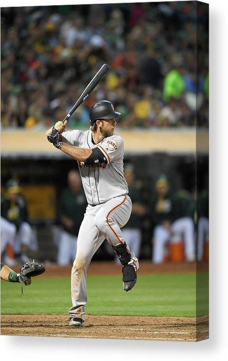 People Canvas Print featuring the photograph San Francisco Giants V Oakland Athletics by Thearon W. Henderson