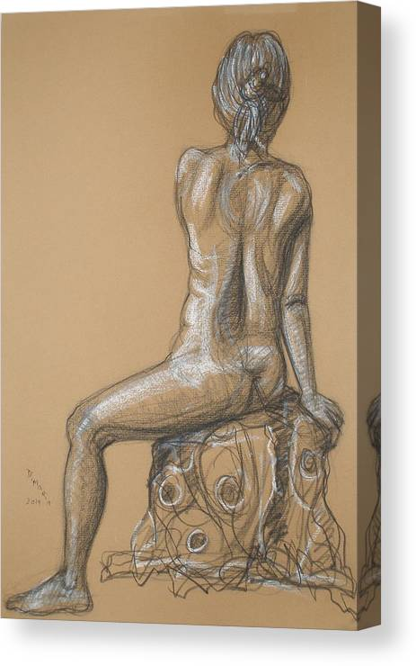Figurative Canvas Print featuring the drawing Sandra -back Nude by Donelli DiMaria
