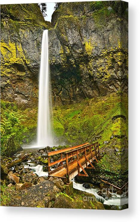 Elowah Falls Canvas Print featuring the photograph Scenic Elowah Falls In The Columbia River Gorge In Oregon by Jamie Pham