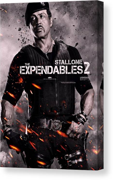 The Expendables 2 Canvas Print featuring the photograph The Expendables 2 Stallone by Movie Poster Prints