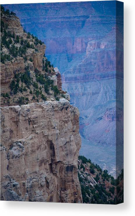 Grand Canyon Canvas Print featuring the photograph Trail On The Edge by Nickaleen Neff