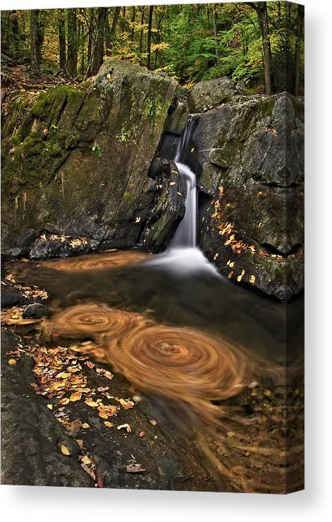 Waterfall Canvas Print featuring the photograph Triple Swirls by Susan Candelario