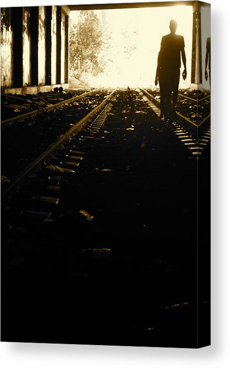 People Tunnel Railways Canvas Print featuring the photograph Walking Under by Basile Pesso