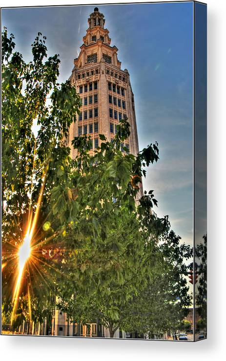 Canvas Print featuring the photograph 002 Electric Tower At Sunrise by Michael Frank Jr