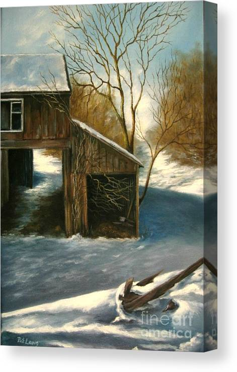Barn Canvas Print featuring the painting Barn In The Snow by Patricia Lang