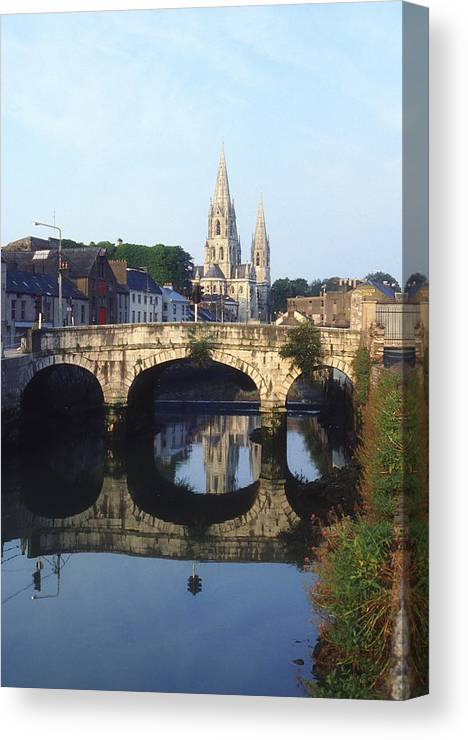 Blue Sky Canvas Print featuring the photograph St. Finbarres Cathedral, Cork, Co Cork by The Irish Image Collection