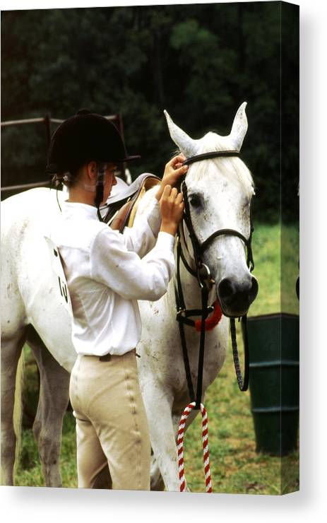 Teen Girl Canvas Print featuring the photograph Teen Equestiran by Roger Soule