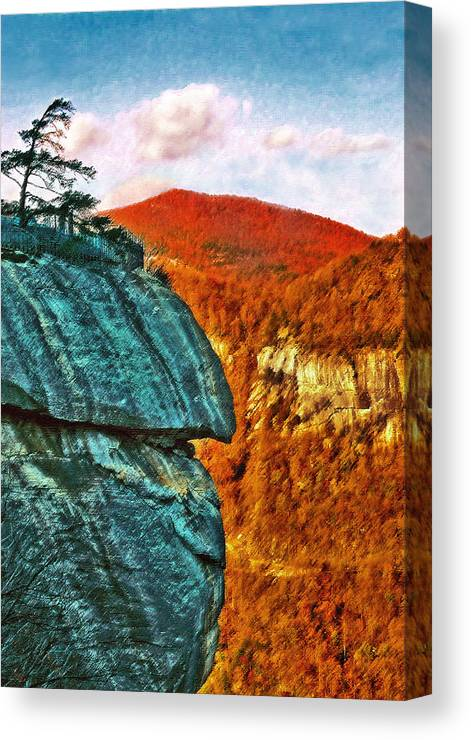 Landscape Canvas Print featuring the painting Chimney Rock by Steve Karol