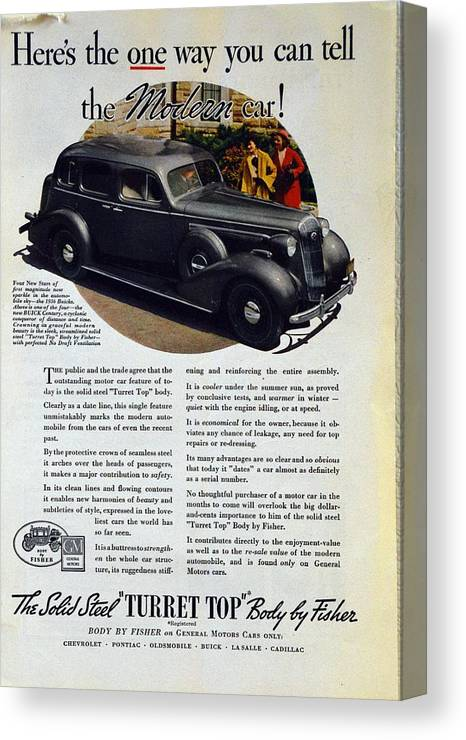 1936 Buick Century Canvas Print featuring the photograph 1936 Buick Century Classic Ad by Allen Beilschmidt