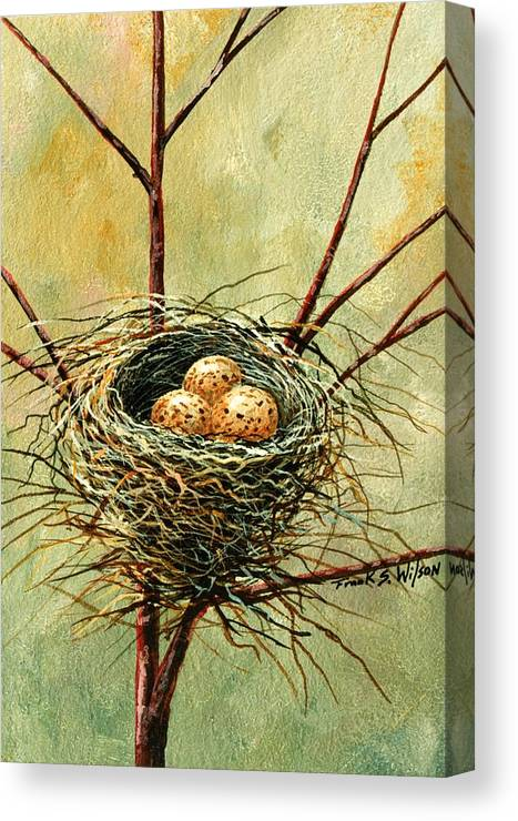Still Life Canvas Print featuring the painting Bird Nest by Frank Wilson
