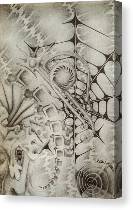Web Canvas Print featuring the drawing Cavern Of The Id by Sean Imler