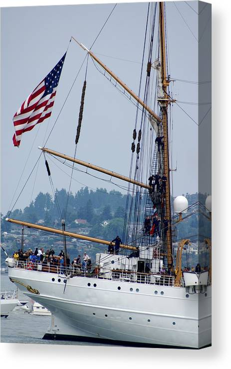 Tall Ships Canvas Print featuring the photograph Cgc Eagle by Sonja Anderson