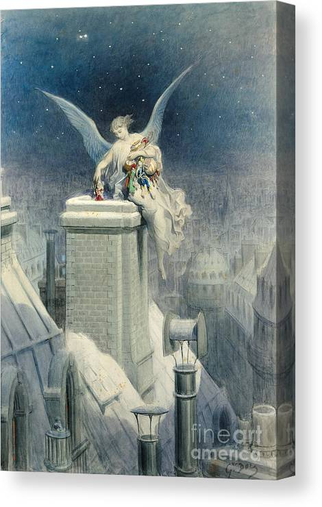 Christmas Canvas Print featuring the painting Christmas Eve by Gustave Dore