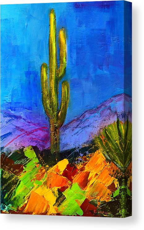Desert Canvas Print featuring the painting Desert Giant by Elise Palmigiani