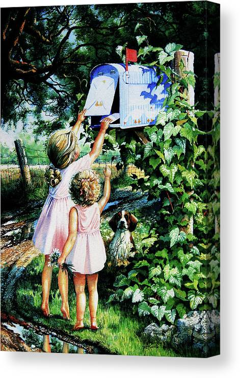 Mailbox Canvas Print featuring the painting Grandmas Letter by Hanne Lore Koehler