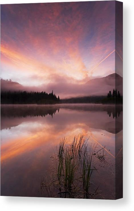 Sunrise Canvas Print featuring the photograph Heavenly Skies by Mike Dawson