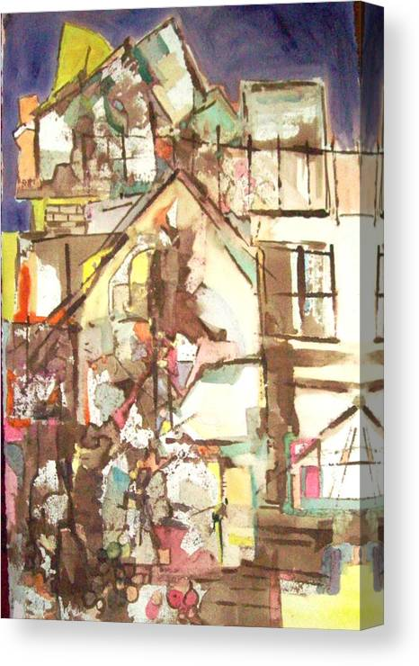 Abstract. Architecture Canvas Print featuring the painting Hillside House by James Christiansen