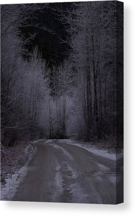Ice Canvas Print featuring the photograph Ice Road by Cindy Johnston