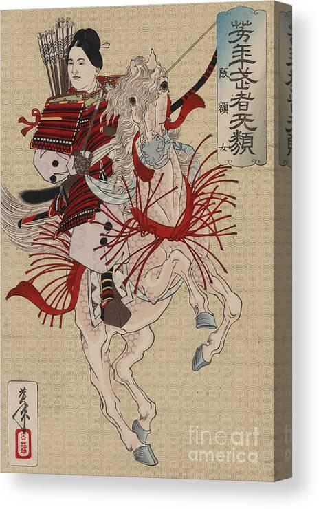 Samurai Canvas Print featuring the painting Lady Hangaku by Tsukioka Yoshitoshi