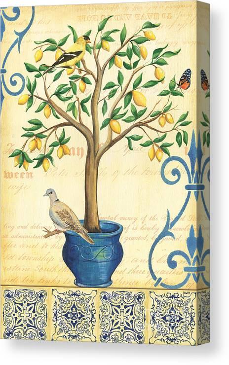 Lemon Canvas Print featuring the painting Lemon Tree Of Life by Debbie DeWitt