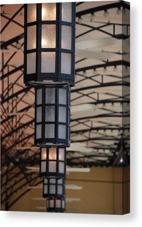 Architecture Canvas Print featuring the photograph Lights At City Place by Rob Hans