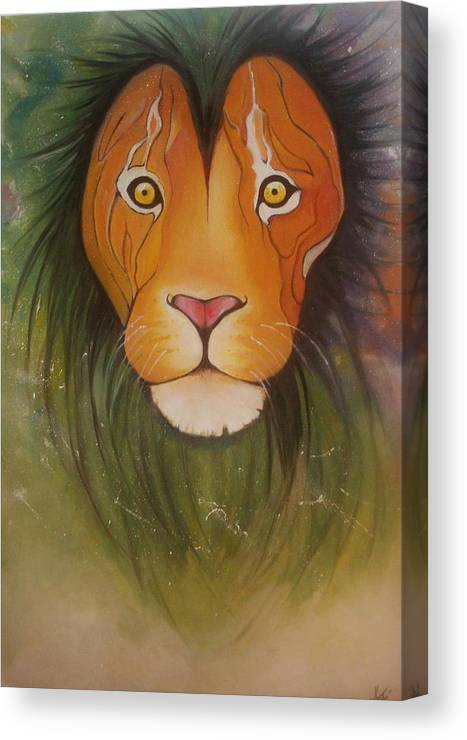 #lion #oilpainting #animal #colorful Canvas Print featuring the painting Lovelylion by Anne Sue