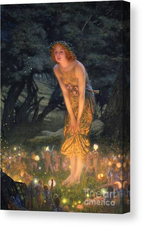 Pre Raphaelite Canvas Print featuring the painting Midsummer Eve by Edward Robert Hughes