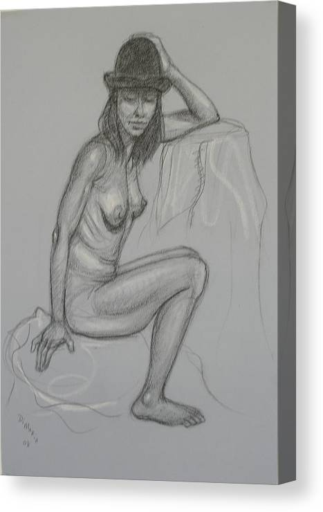 Realism Canvas Print featuring the drawing Nude With Hat 1 by Donelli DiMaria