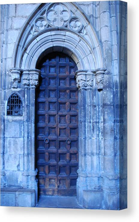 Cathedral Door Canvas Print featuring the photograph Old Cathedral Door In Barcelona by Dorota Nowak