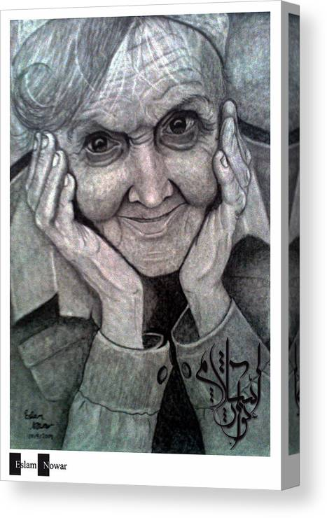 Portrait Canvas Print featuring the painting Old Lady by Eslam Nowar