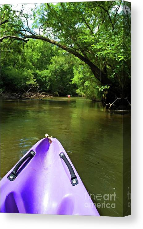 Active Canvas Print featuring the photograph Purple Canoe On The Eyre River by Sami Sarkis