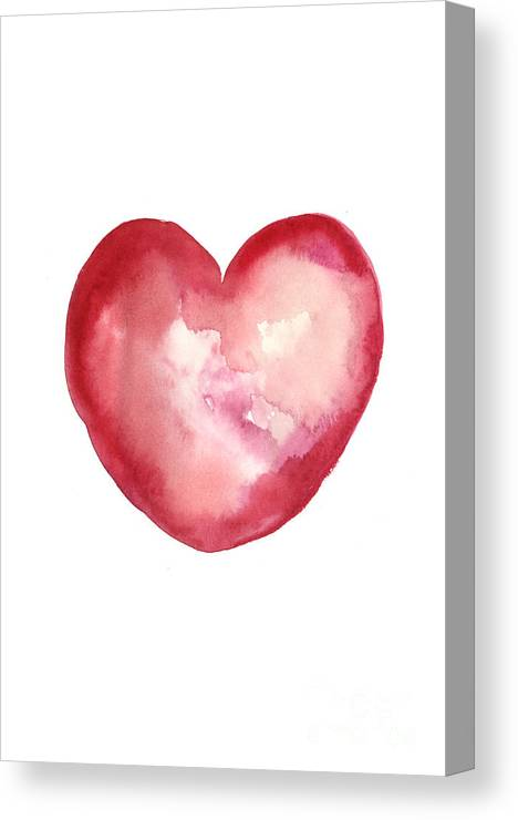 Valentine's Day Canvas Print featuring the painting Red Heart Valentine's Day Gift by Joanna Szmerdt