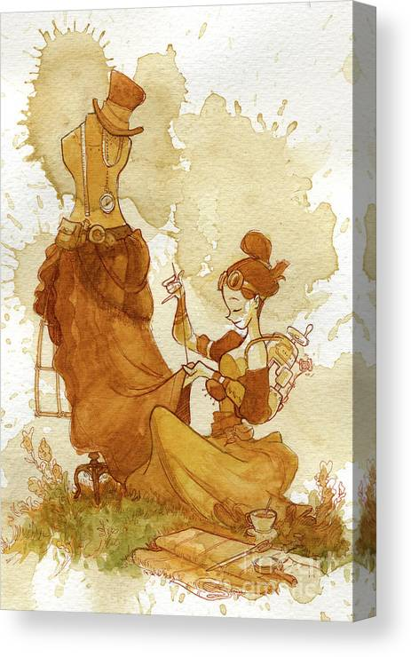 Steampunk Canvas Print featuring the painting Seamstress by Brian Kesinger