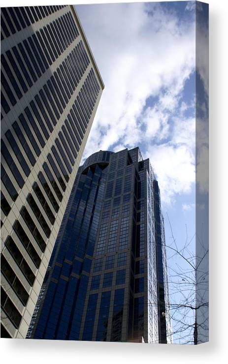 Architecture Canvas Print featuring the photograph Seattle Skyscrapers by Sonja Anderson