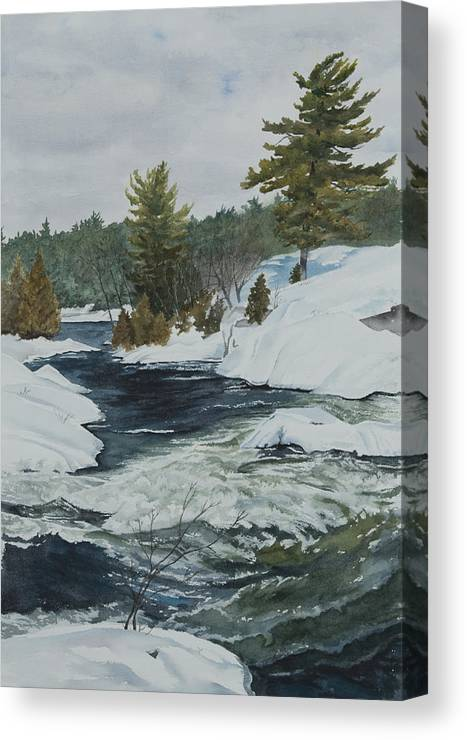 Snow Canvas Print featuring the painting Snow And Islands by Debbie Homewood