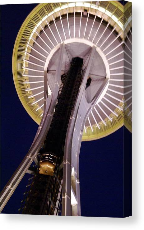 Architecture Canvas Print featuring the photograph Space Needle Close-up by Sonja Anderson