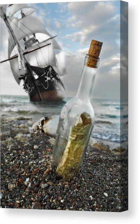Pirate Ship Fantasy Art Realistic Tale Boat Vessel Sail Sailing Sails Wind Wreck Ships Historical History Message In A Bottle Skull Beach Ocean Water Lake Michigan Wisconsin Joseph Halasz Photography Shipwreck Wreck Digital Art High Resolution Sand Shore Seashore Waves Tall Ship Aground Canvas Print featuring the photograph Tall Ship Message In A Bottle by Joseph Halasz