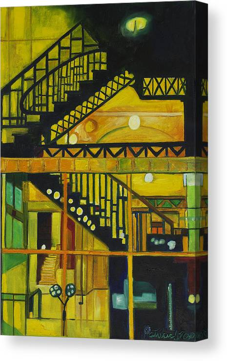 Abstract Canvas Print featuring the painting Through Parisian Glass by Patricia Arroyo