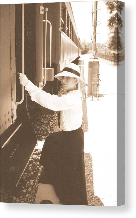 Snood Canvas Print featuring the photograph Traveling By Train - Sepia by Cindy New