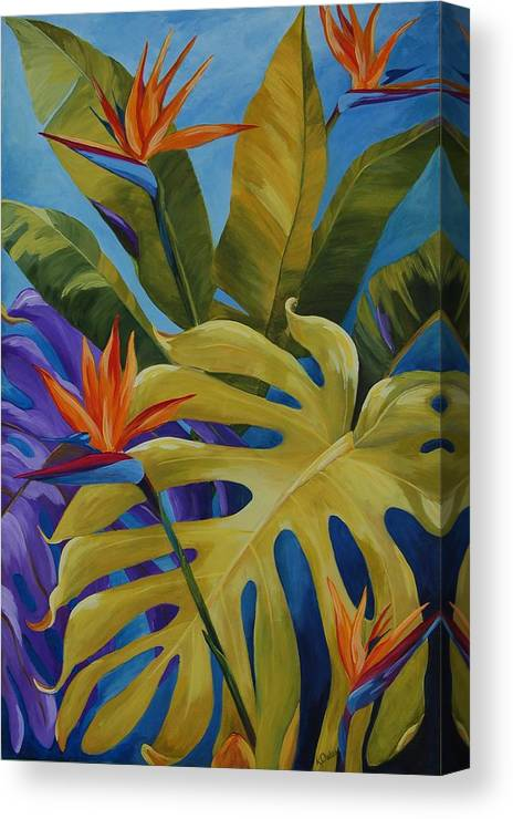 Bird Of Paradise Canvas Print featuring the painting Tropical Birds by Karen Dukes