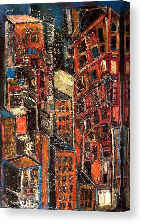 Cityscape Canvas Print featuring the painting Urban Congestion by Jon Baldwin Art
