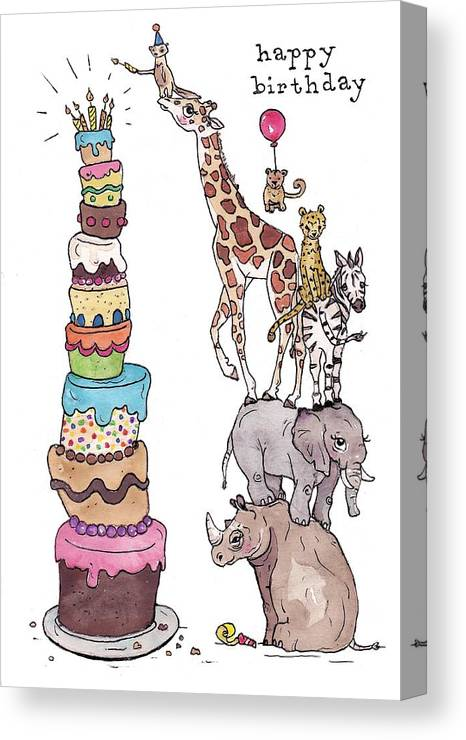 Birthday Canvas Print Featuring The Painting Zoo Animals Happy Card By Katrina Davis