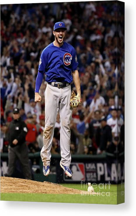 People Canvas Print featuring the photograph World Series - Chicago Cubs V Cleveland 20 by Ezra Shaw