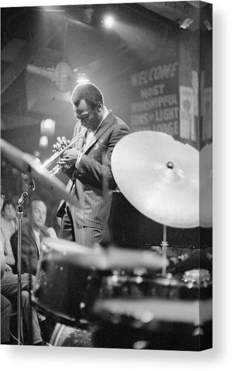 Concert Canvas Print featuring the photograph Miles Davis Performing In Nightclub by Bettmann