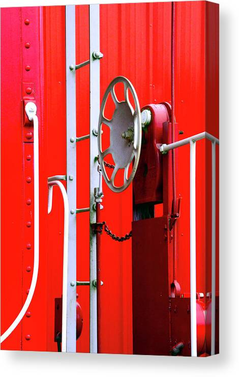 D2-rr-3804 Canvas Print featuring the photograph White On Red Railroad Caboose by Paul W Faust - Impressions of Light