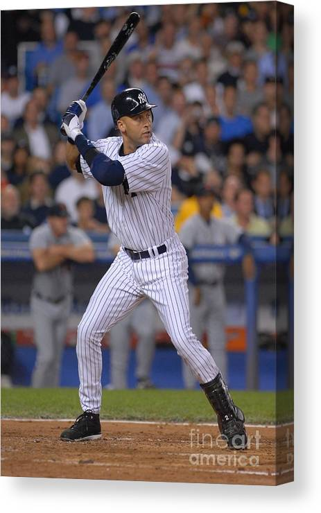 People Canvas Print featuring the photograph Derek Jeter by Mark Cunningham