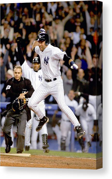 Game Two Canvas Print featuring the photograph Hideki Matsui And Derek Jeter by Al Bello